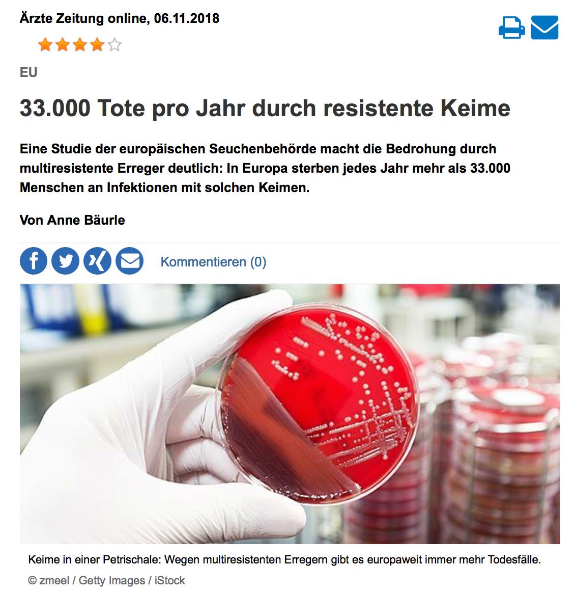 33000 tote pro Jahr durch resistente Keime